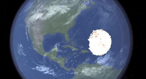 simulation collision entre l'astéroïde Apophis et la Terre