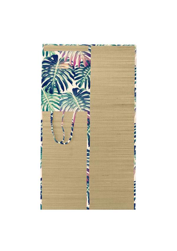 tapis de plage en paille motifs floraux