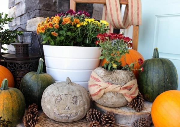 Comment faire une citrouille en béton jardinière