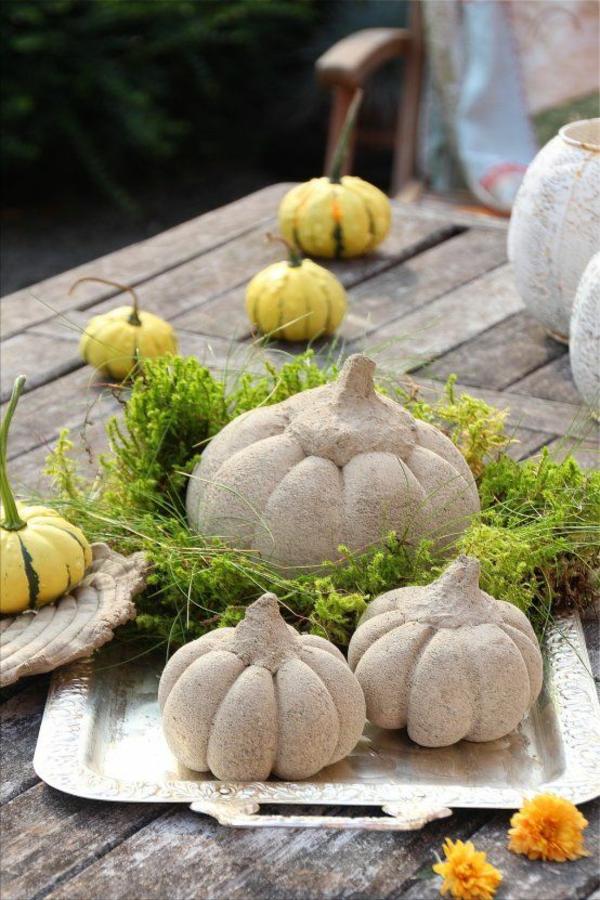 Comment faire une citrouille en béton pour décorer la table en automne