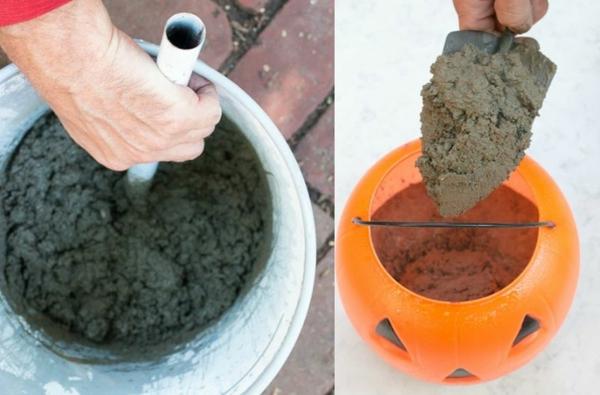 Comment faire une citrouille en béton préparation