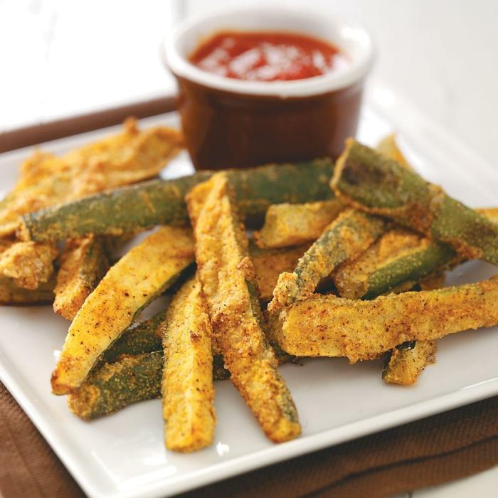Frites de patates douces courgettes