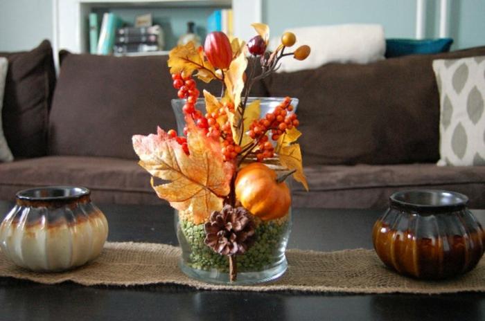activités manuelles automne idée déco vase style automnale