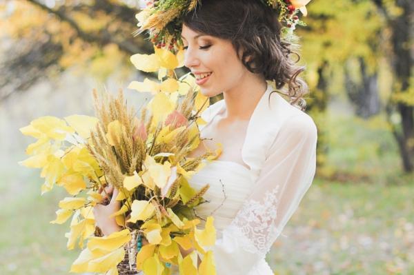 bouquet de mariée automnal épis de blé feuilles d'automne