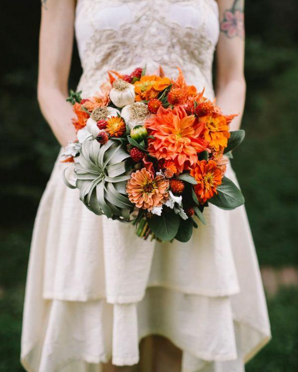 bouquet de mariée automnal ail oeuillets gerberas