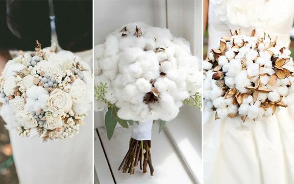 bouquet de mariée automnal avec des boules de coton