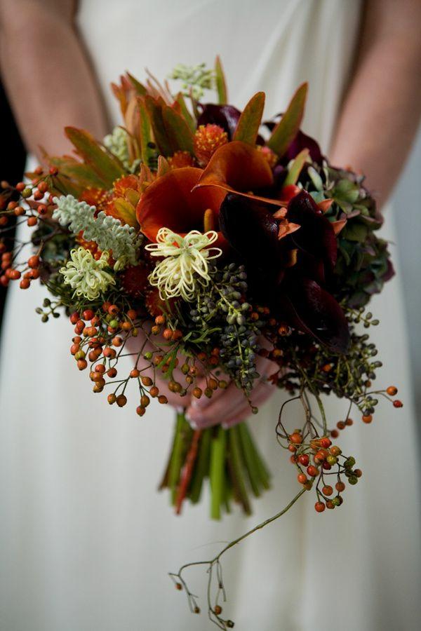 bouquet de mariée automnal baies lis de callas