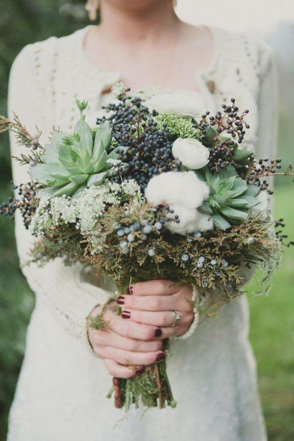 bouquet de mariée automnal coton baies succulentes
