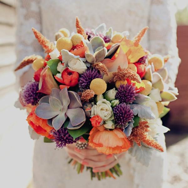 bouquet de mariée automnal de style rustique