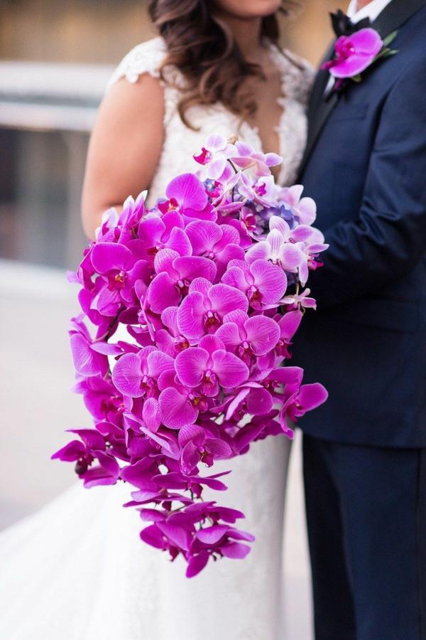 bouquet de mariée automnal en cascade orchidées