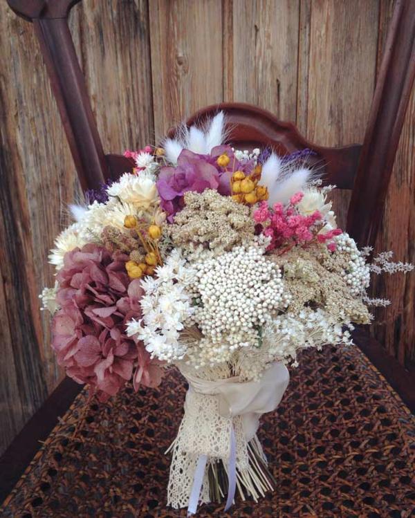 bouquet de mariée automnal fleurs séchées