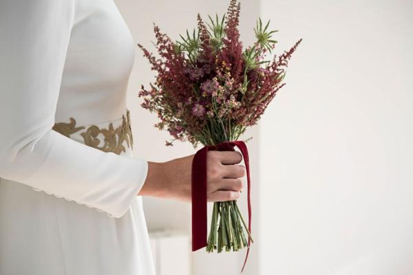 bouquet de mariée automnal herbes