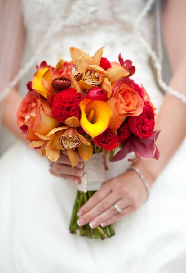 bouquet de mariée automnal lis de calla roses orchidées