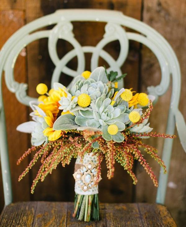 bouquet de mariée automnal plantes succulentes