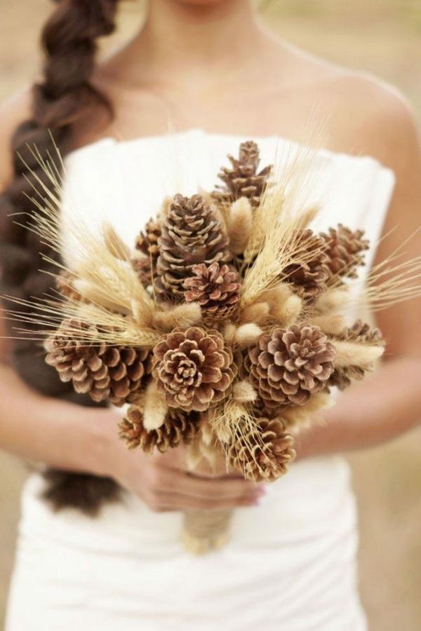 bouquet de mariée automnal pommes de pin épis de blé