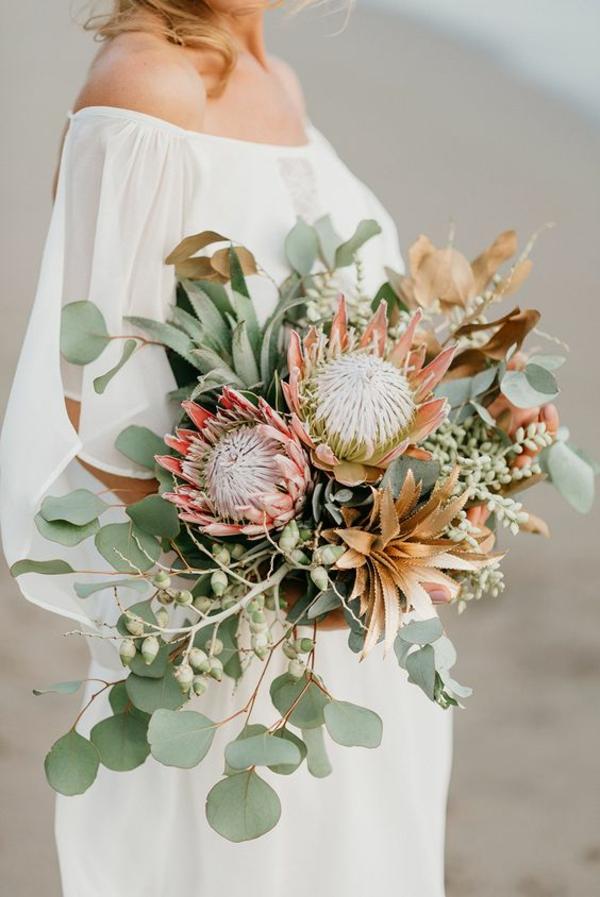 bouquet de mariée automnal proteas succulentes