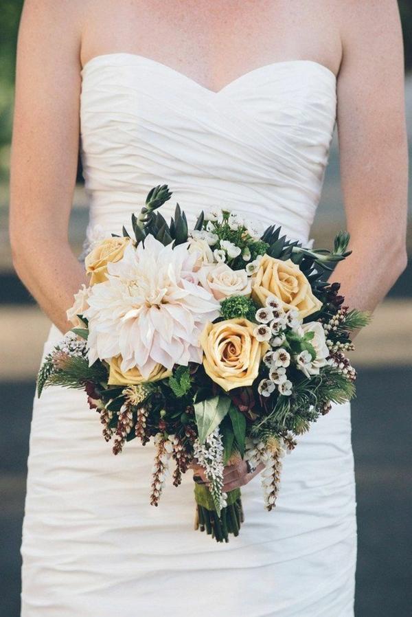 bouquet de mariée automnal roses jaunes chrysanthèmes