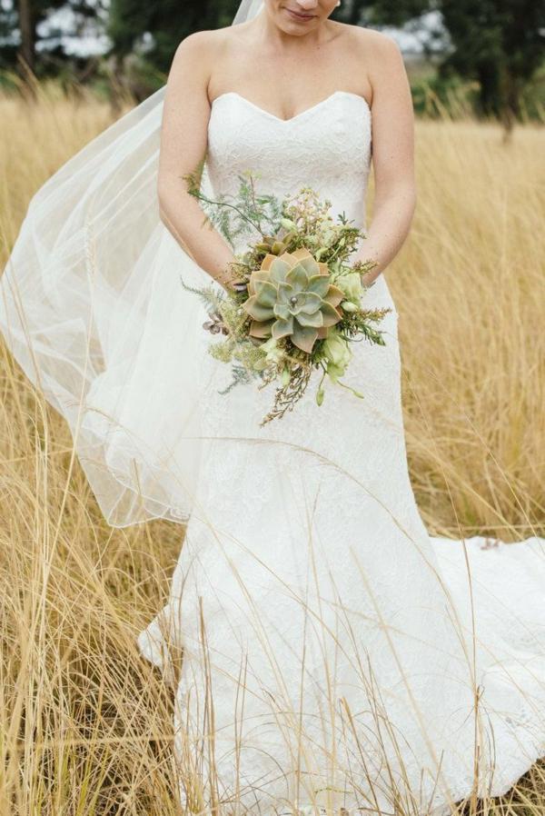 bouquet de mariée automnal succulentes