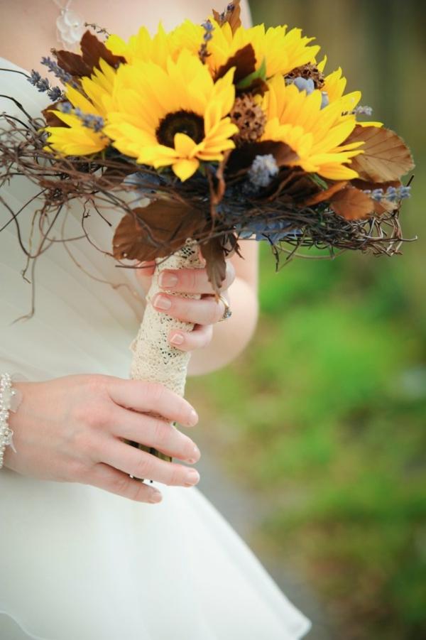 bouquet de mariée automnal tournesols feuilles dentelle