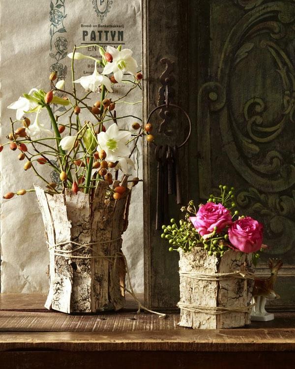bricolage automne arrangement floral vase en écorce darbre