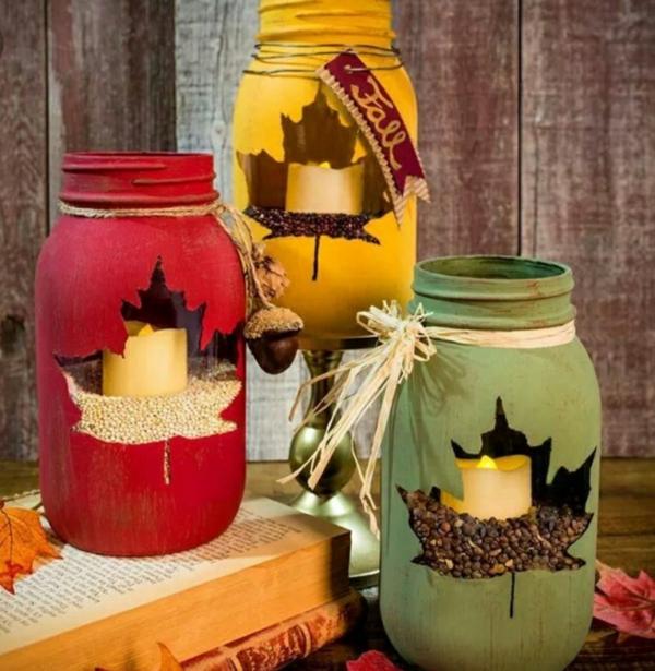 bricolage automne bougeoirs en bocaux de verre