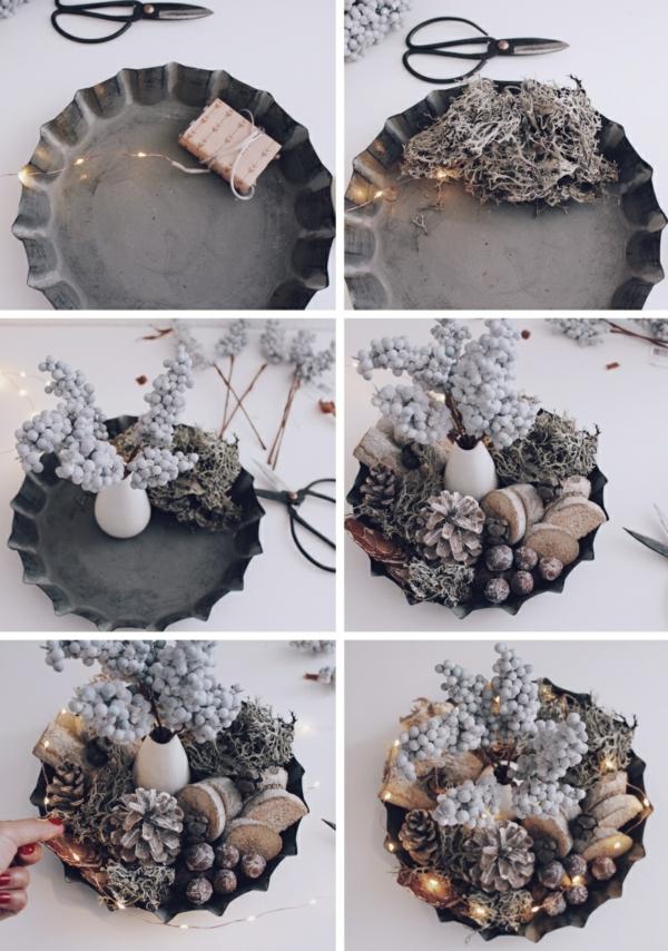 bricolage automne centre de table matériaux naturels