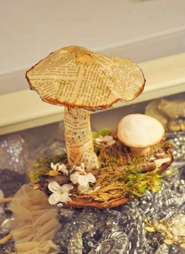 bricolage automne champignons en bois et papier