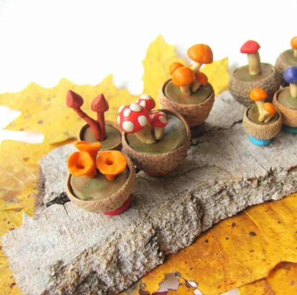 bricolage automne champignons en pâte à modeler