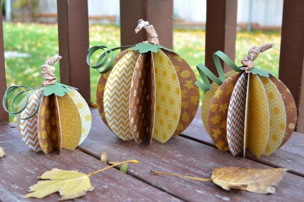 bricolage automne citrouille en papier catron coloré