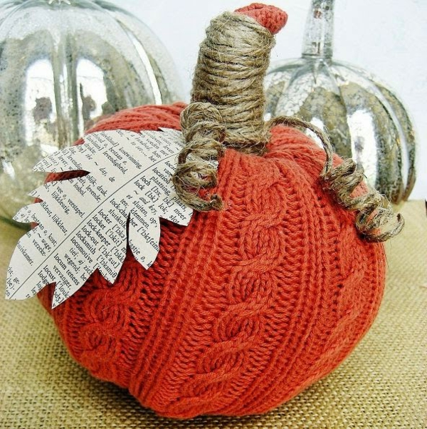 bricolage automne citrouille tricot