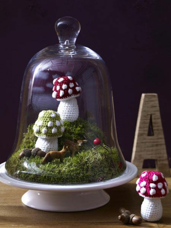 bricolage automne cloche en verre mousse champignons crochet