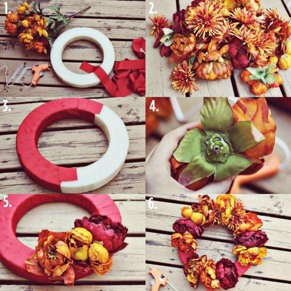 bricolage automne couronne de fleurs saisonnières