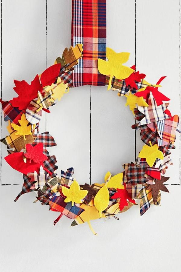 bricolage automne couronne de porte feutrine textile