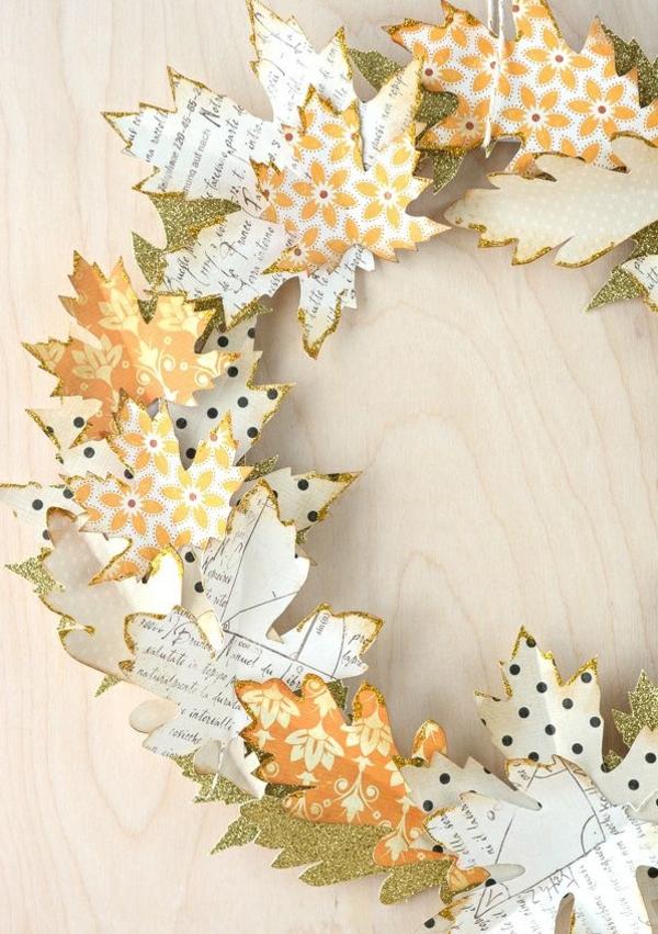 bricolage automne couronne feuilles en papier