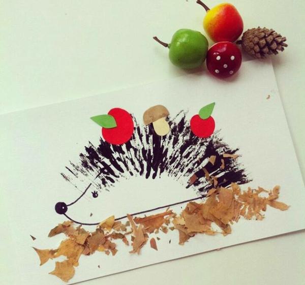 bricolage automne dessin hérisson feuilles sèches