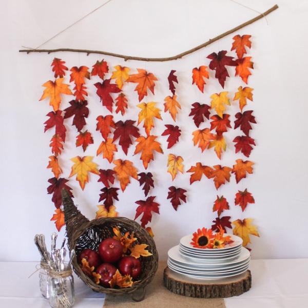 bricolage automne guirlande en feuilles d'automne