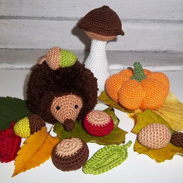 bricolage automne hérisson champignons au crochet