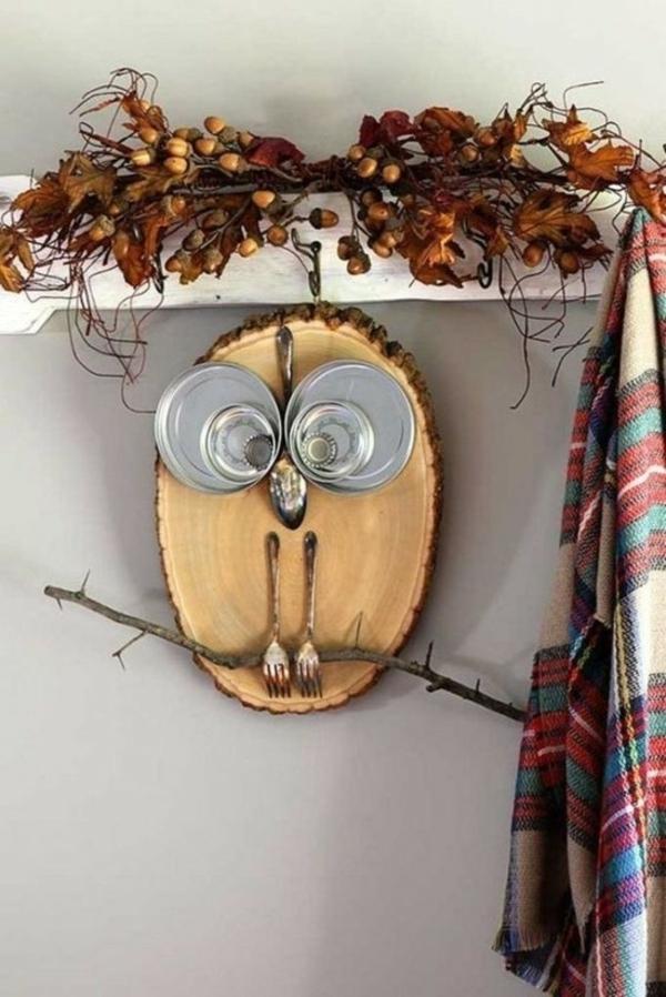 bricolage automne hibou en bois et métal recyclage