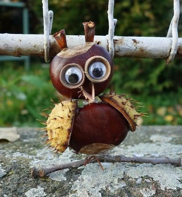 bricolage automne hibou en châtaignes