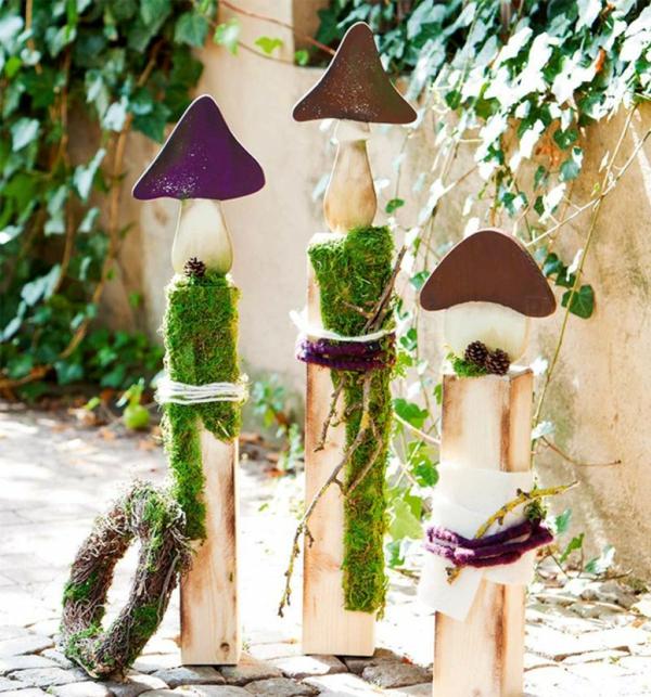 bricolage automne jardin champignons en bois