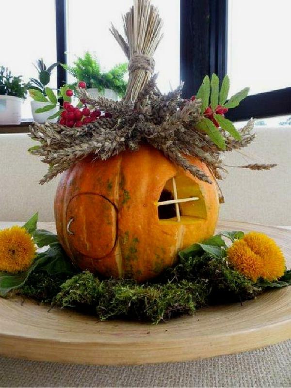 bricolage automne maison en citrouille