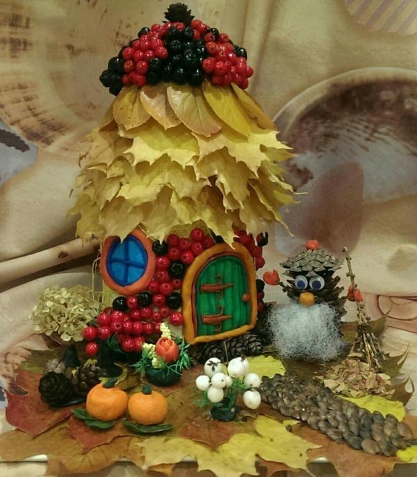 bricolage automne maisonnette en matériaux naturels
