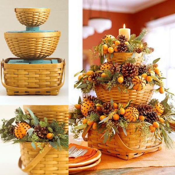 bricolage automne panier tressé agrumes pommes de pin