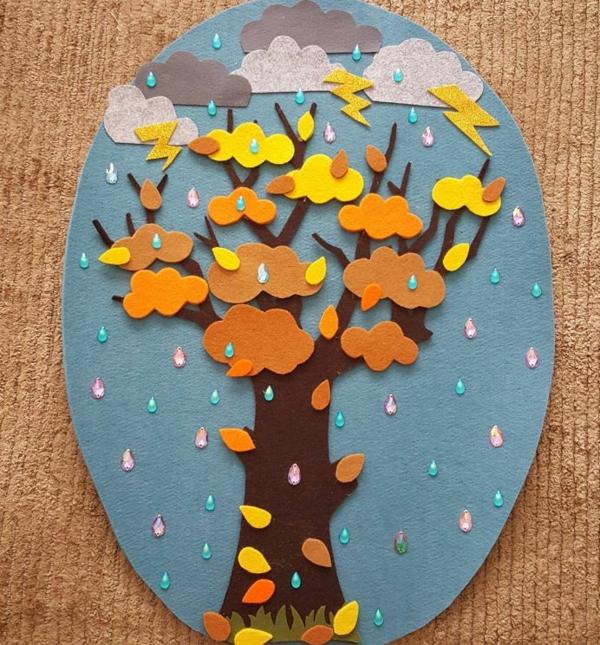 bricolage automne tableau en papier et feutrine