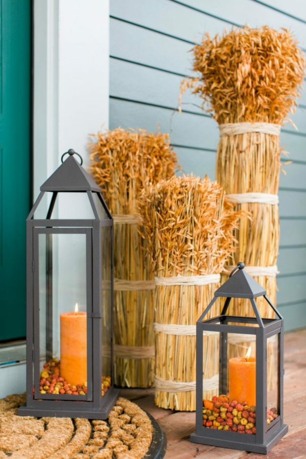 bricolage automne terrasse lanternes métalliques épis de seigle