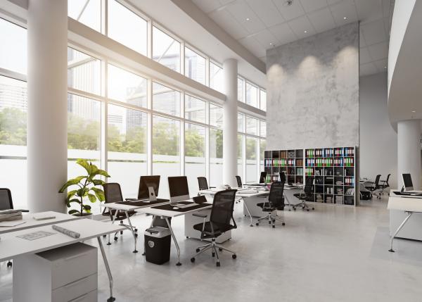 bureau contemporain design grand espace industriel