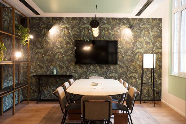 bureau contemporain design papier peint au mur