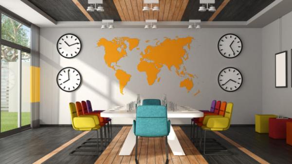 bureau contemporain design une salle de conférence en couleurs