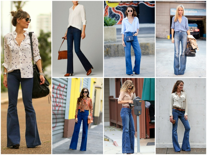 chemise et jean flare femme idée comment associer