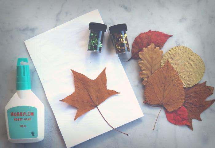 coller les feuilles sur le papier activités manuelles automne idées